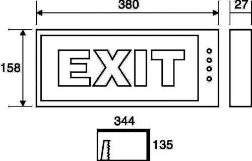 Kích thước đèn Exit chỉ dẫn Siemens PEXA13RW (ET 201)